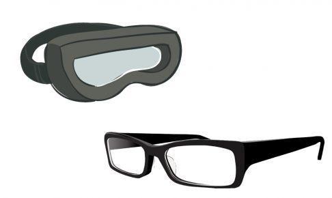 サバゲー用ゴーグルとメガネのイラスト