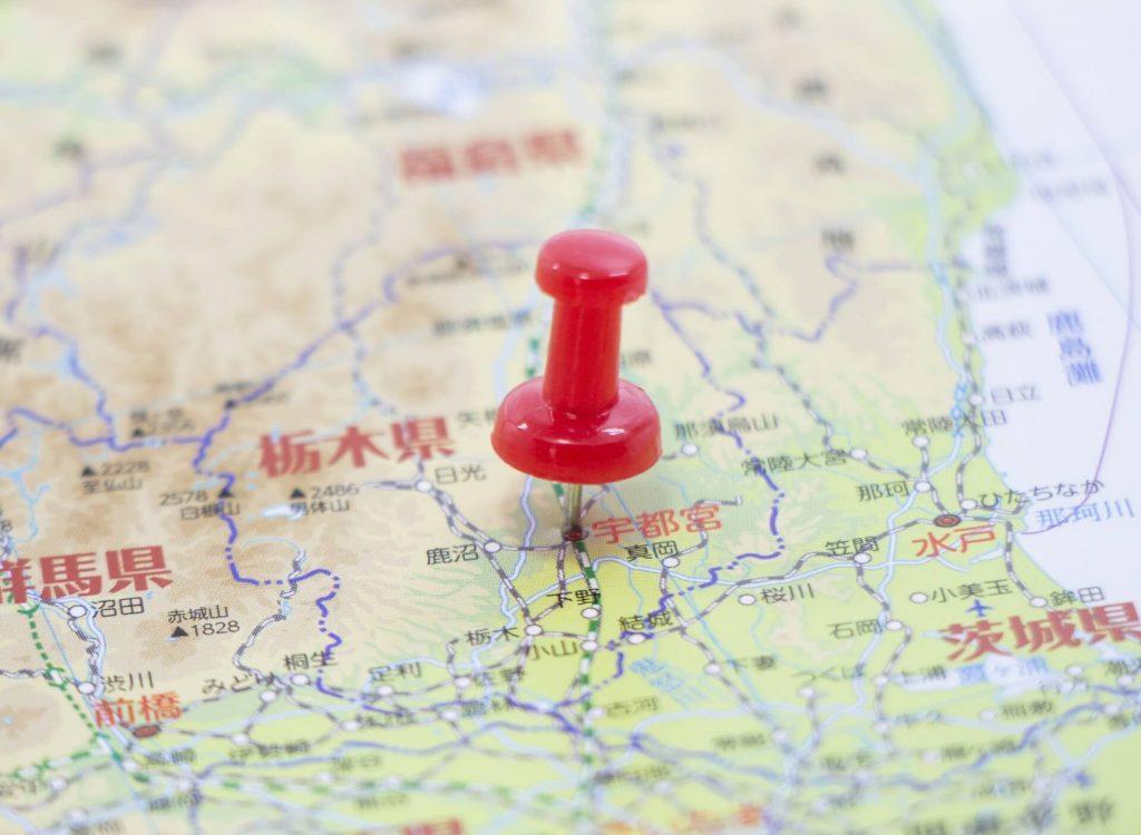 栃木県の地図画像