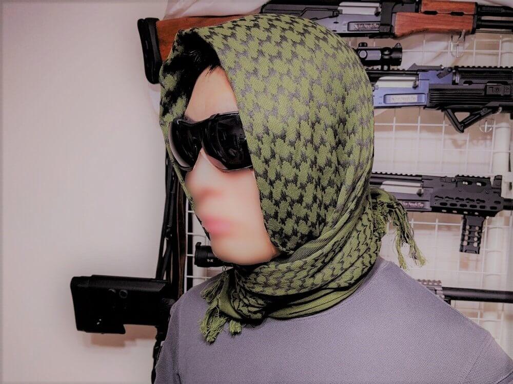 アフガンストールのヒジャブ風の巻き方